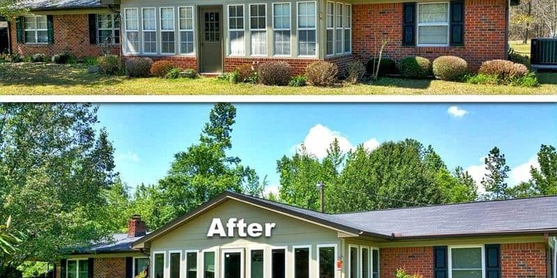 Before and after photo of a replacement window project in Caledonia