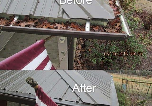 Before and after LeavesOut gutter guard installation